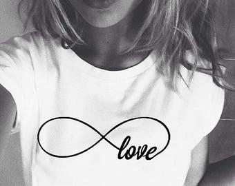 infinity shirt,infinity love shirt,infinity t-shirts,women's shirt,womens shirt,women's t-shirts,ScreenPrint tshirts,slim fit,Size:S / M / L