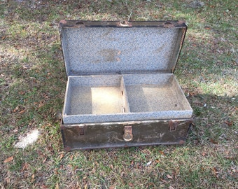 Antique Trunk, Packer Trunk, Flat Top Trunk, Chest, Luggage, Farmhouse Decor, Storage Bin, Container,