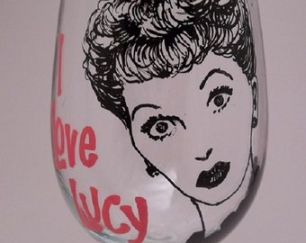 I Love Lucy, Lucille Ball, Hand painted glass, Painted wine glass
