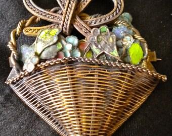 Vintage Brass Enamel Flower Basket Pin