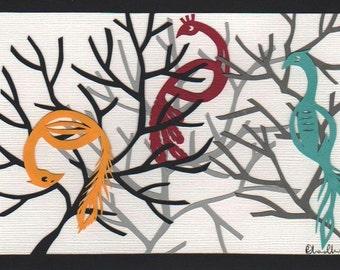 Three Colourful Birds Original Papercut Art