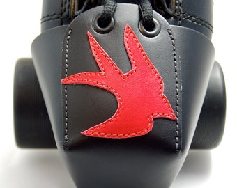 Leather Toe Guards with Red Swallows