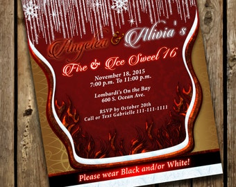 Fire and ice invite Etsy