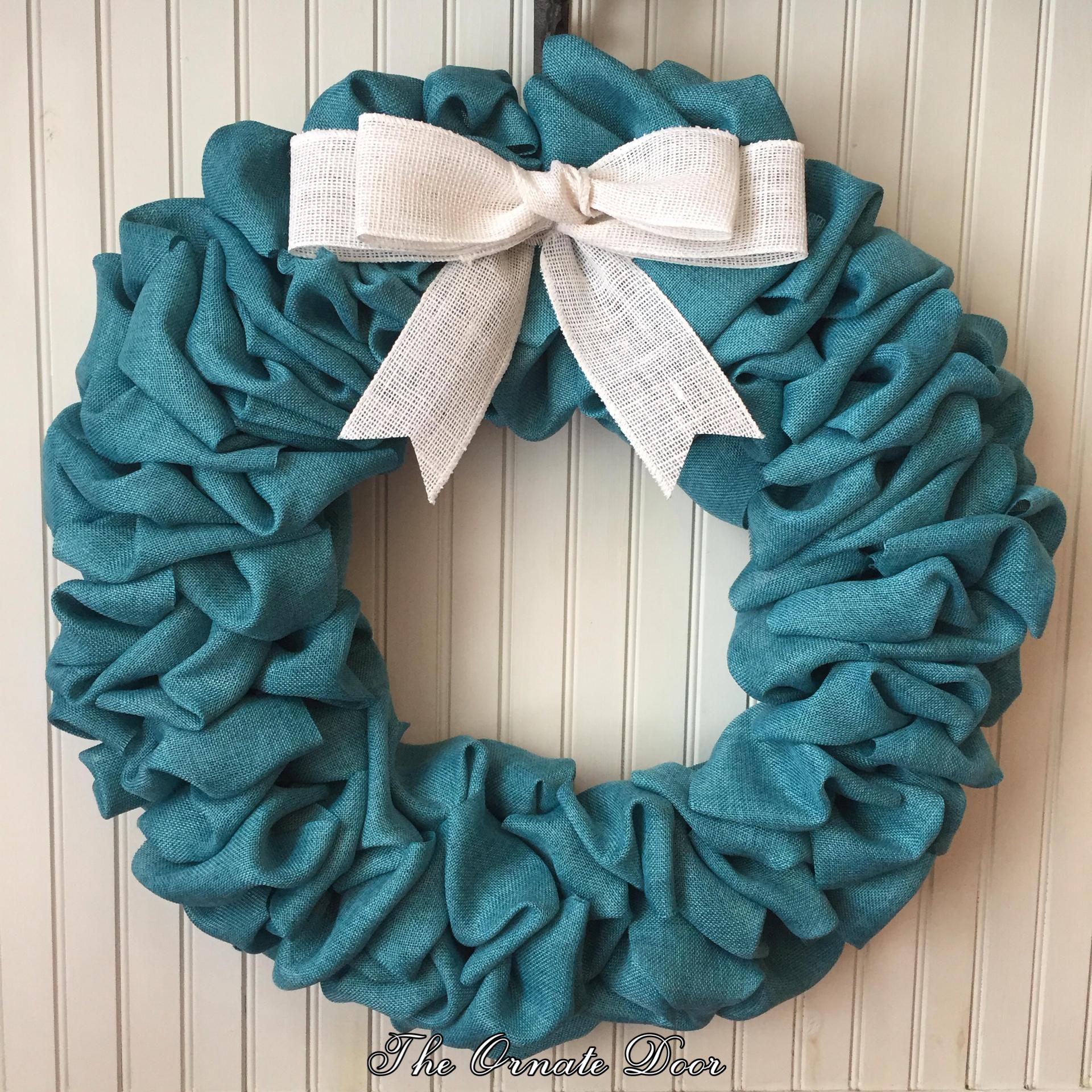 Turquoise wreath turquoise burlap wreath teal wreath