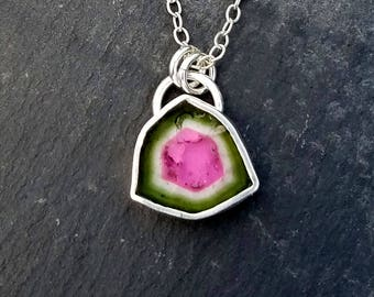Watermelon tourmaline necklace / tourmaline slice / bi color tourmaline / October birthstone / tourmaline pendant / gift / ready to ship