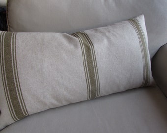 FRENCH LAUNDRY Pillow Green Stripes 13x26 insert included