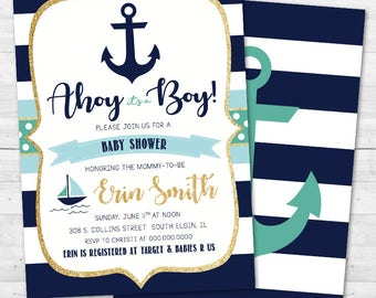 Ahoy It's a Boy Baby Shower Invitation - Nautical, Anchor - Turquoise & Navy Blue