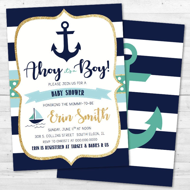 Ahoy It\'s a Boy Baby Shower Invitation - Nautical, Anchor ...