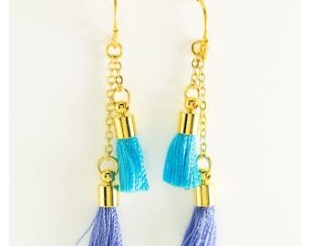 Double Tassel Dangle Earrings, Tassel Jewelry, Pink Tassel Earrings, Blue Tassel Earrings