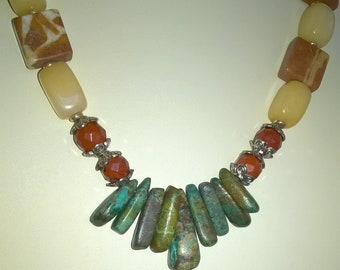 Red Jasper, Calcite, Turquoise, Marble Necklace and Earrings