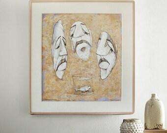 "Art Original Oil Wall Art Modern Contemporary Home Decor ""Never teach fish to swim"" White Black Yellow by Bo Kravchenko, Ready to ship"