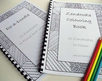 Coloring Books, Zentangle Inspired Set of 2 Printable Coloring and Doodle Books, Coloring Patterns, 12 Zendoodles to finish and color