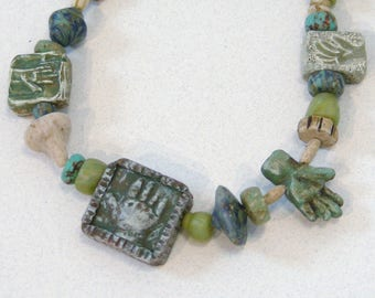 Soft Jades Hand Relic Necklace in polymer clay