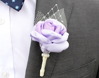 Purple Fabric Boutonniere - Grooms and Groomsmen Wedding Boutonniere, Lavender and Plum