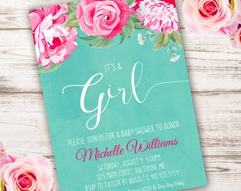 Whimsical Girl Baby Shower Invitation, girl baby shower invite, baby shower, floral baby shower, watercolor baby shower invitation