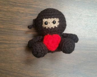 Mini Crochet Ninja, Stuffed Animal Ninja, Mini Plush Ninja, Kid's Birthday Gift, Ninja Toy, Gifts under 30, Ninja Amigurumi, Gift for Kids