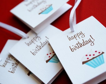 Birthday Cupcakes- set of 8 gift tags