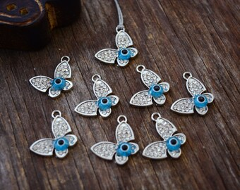 Silver Butterfly & Evil Eye Pendant, 20x15mm, 2 pcs / Rhinestone Butterfly Charm, Evil Eye Charm, Butterfly, Protection Pendants / Supplies