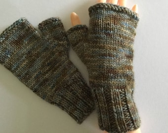 Fingerless Gloves, Hand Dyed and knitted .