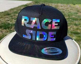 Rage Side Flat Brim Hat in Black with Super Reflective Writing and Snap Back Fit