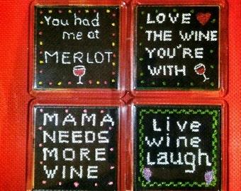 Cross stitch Wine Coasters