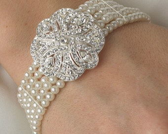 Classic 5 Row Silverplated Clear Crystal Swireled Rose White Pearl Bracelet
