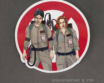 Who are you gonna call? ALIENBUSTERS! vinyl sticker | The X Files | Dana Scully & Fox Mulder