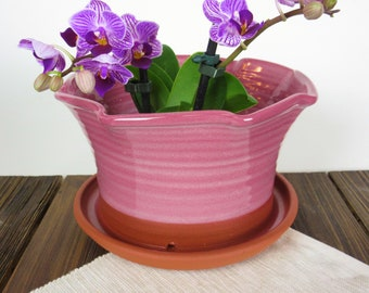 """Pink Ceramic Planter Flower Pot with attached saucer, hand-crafted pottery garden plant pot 8"""" wide by 5"""" tall, decorative clay planter"""
