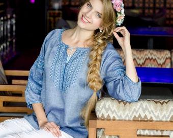 Embroidered linen shirt woman. Ukrainian vyshyvanka
