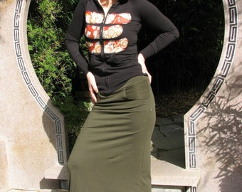 Solar Flare Maxi Skirt with Pockets, custom clothing, organic clothing