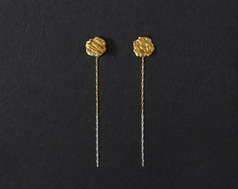24k Gold Plated Drop Earrings, Front & Back Gold Earrings, Sterling Silver Drop Earrings, Silver Pebble Earrings, Minimalist Gold Earrings