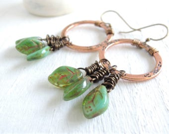 Green Leaves Earrings Copper Hoop Earrings Rustic Floral Circle Earrings Earthy Woodland Nature Earrings Green Leaf Dangle Earrings For Her