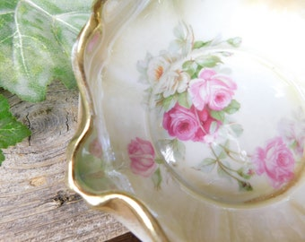 Antique Silesia Roses Ruffled Edge Candy Dish