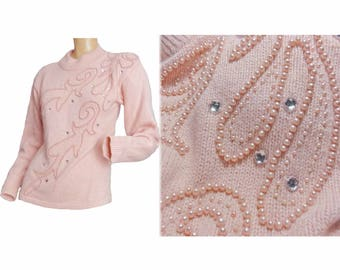 Vintage 1980s Sweater Fuzzy Pink Angora NOS Pullover Long Batwing Sleeves Embellished Sweater Pearl Trim
