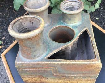 Modernist square studio pottery Ikebana vase