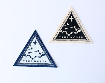 True North Patch // sky, stars, navigation, clouds, night sky, adventure accessory, screen printed, denim, canvas, iron on, upcycled fabric