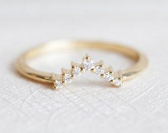 V Diamond Ring, Diamond Wedding Band, Diamond Wedding Ring, Gold Wedding Ring, Stacking Gold Ring, rose gold, white gold, yellow gold