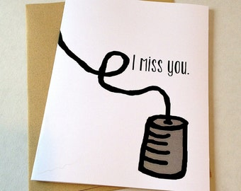 Long Distance Relationship Card - Miss You Card - Cup & String Phone