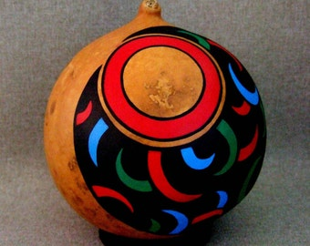 Painted Gourd Art Unique Art Ornament Office Gift Home Decor Office Decor Black and Red Blue and Green Gift For Him Gift For Her