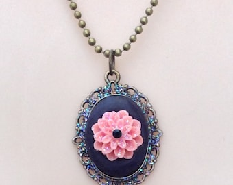 Polymer Clay and Flower Pendant Necklace - Antique Brass Tone
