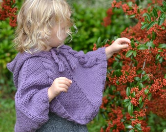 BABY KNITTING PATTERNS - baby poncho - cabled poncho - pdf instant download