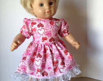 15 inch doll clothes--- Valentine Dress