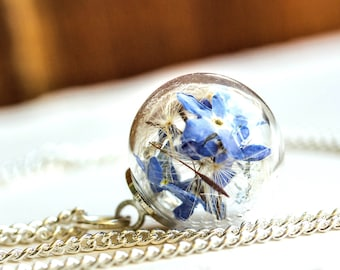 Dandelion and forget-me-not Necklace, minimalist jewelry, real flower necklace, forget-me-not, blue, jewelry, gift, valentine, mother's day