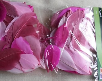 assortment of feathers shades pink x10g (nine) 6cm