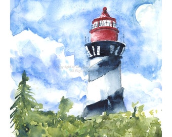Give Me A Life of Solitude N.2 - Limited Edition - Print of watercolor lighthouse
