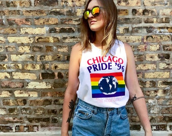 90's Chicago Pride Without Borders Tank Top in Women's Medium Men's Small Gay Pride 1996 96 90s Vintage
