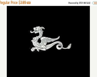 50off Silver Plated Brass Dragon Winged Sea Serpent Stamping Right Side Made in the USA