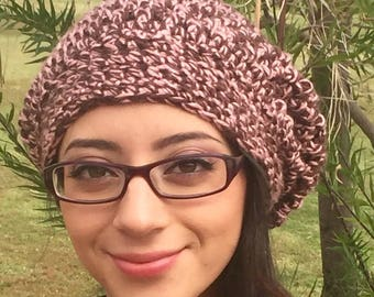 Beret / Slouchy Hat, Crochet Beanie, Pink and Brown Slouchy, Crochet Beret Hat, Chunky Beret, Fall Fashion, Winter Fashion, Ready To Ship