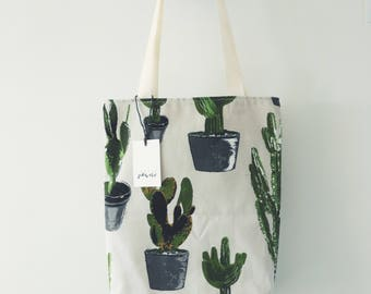 Handmade Canvas Tote Bag Cactus Print