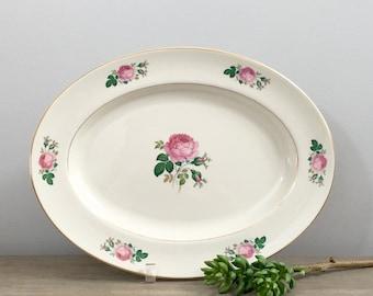 Vintage Pickard Porcelain Serving Platter Modern Farmhouse Cottage Chic Floral Pink Rose Serving Tray Garden Party